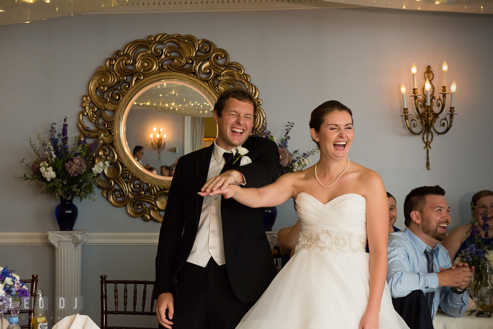 The Mansion at Valley Country Club Bride Groom laughing together during Best Man toast speech photo