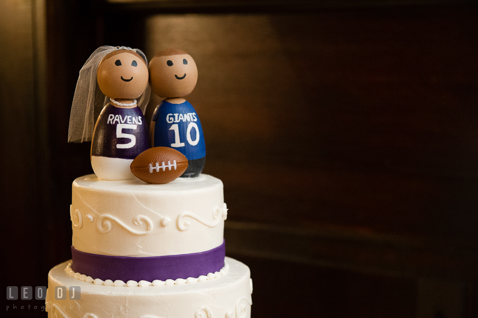 The Mansion at Valley Country Club NFL football Ravens Giants wedding cake topper photo