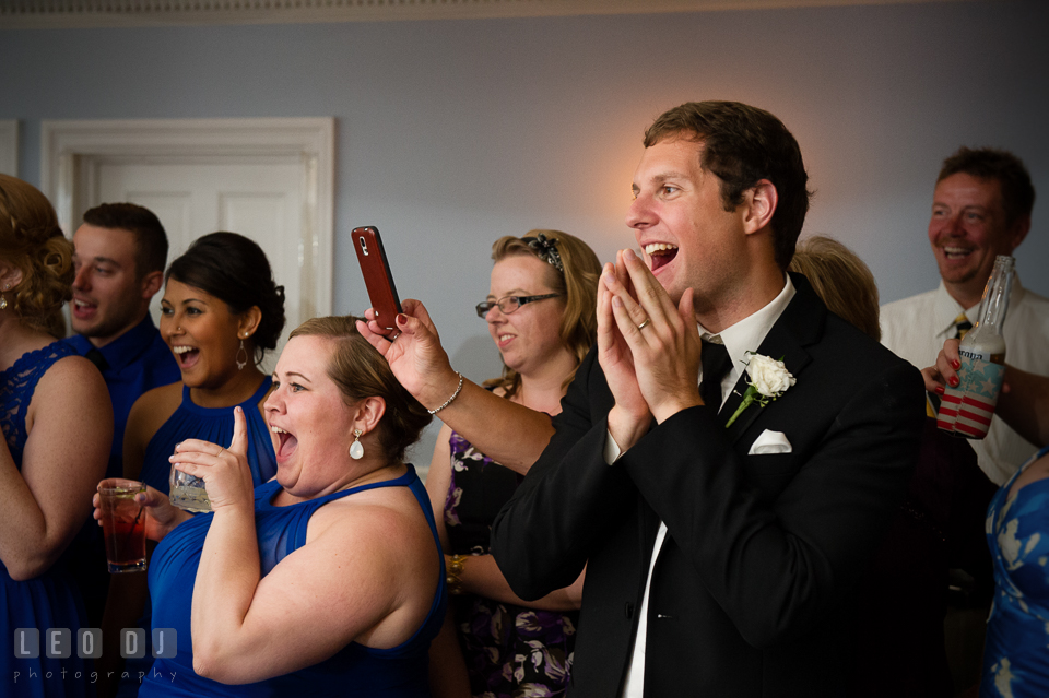 The Mansion at Valley Country Club Groom and guests laughing seeing fun Father Daughter dance photo