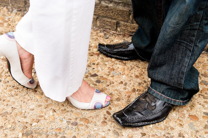 Funky awesome shoes of the engaged couple. Washington DC Tidal Basin Cherry Blossom Pre-Wedding Engagement Photo Session by Wedding Photographer Leo Dj Photography