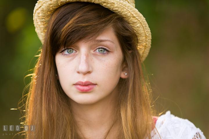 Beautiful girl with beatiful eyes wearing hat. Easton, Centreville, Maryland, High School senior portrait session by photographer Leo Dj Photography. http://leodjphoto.com