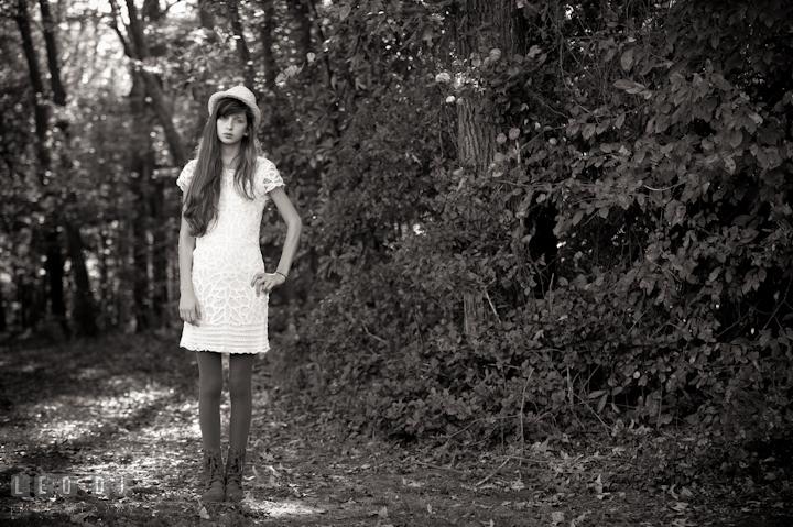 Girl standing in the woods. Eastern Shore, Maryland, High School senior portrait session by photographer Leo Dj Photography. http://leodjphoto.com