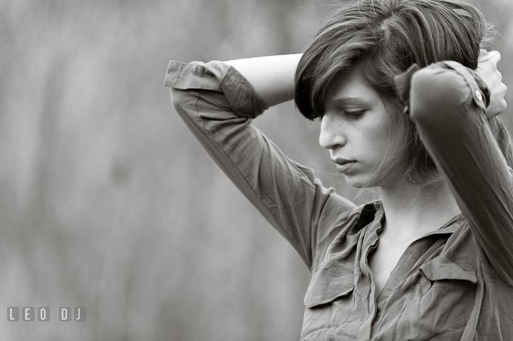 Girl holding up her hair. Eastern Shore, Maryland, High School senior portrait session by photographer Leo Dj Photography. http://leodjphoto.com