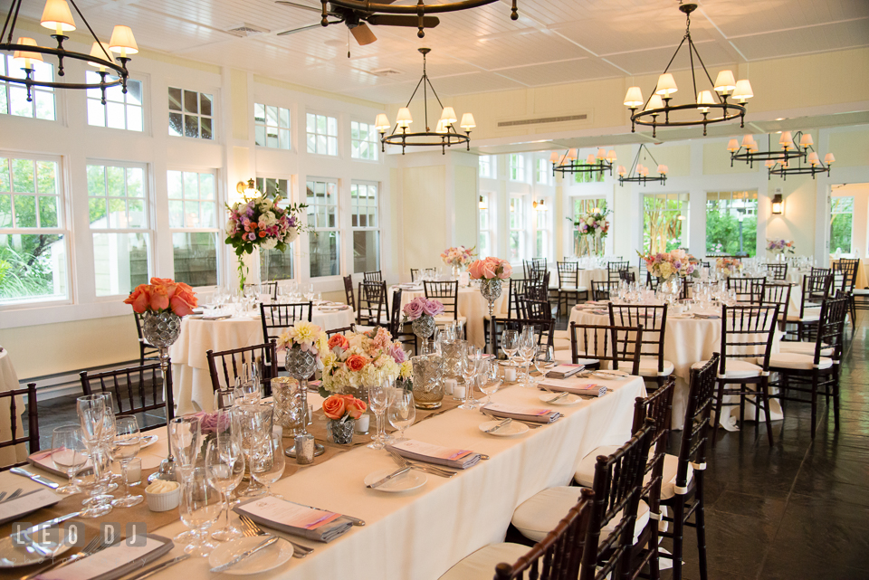 Centerpieces on the head table and other guest tables. Kent Island Maryland Chesapeake Bay Beach Club wedding photo, by wedding photographers of Leo Dj Photography. http://leodjphoto.com
