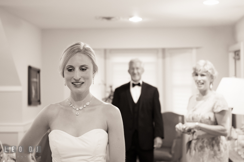 Bride waiting for first look with Father. Kent Island Maryland Chesapeake Bay Beach Club wedding photo, by wedding photographers of Leo Dj Photography. http://leodjphoto.com