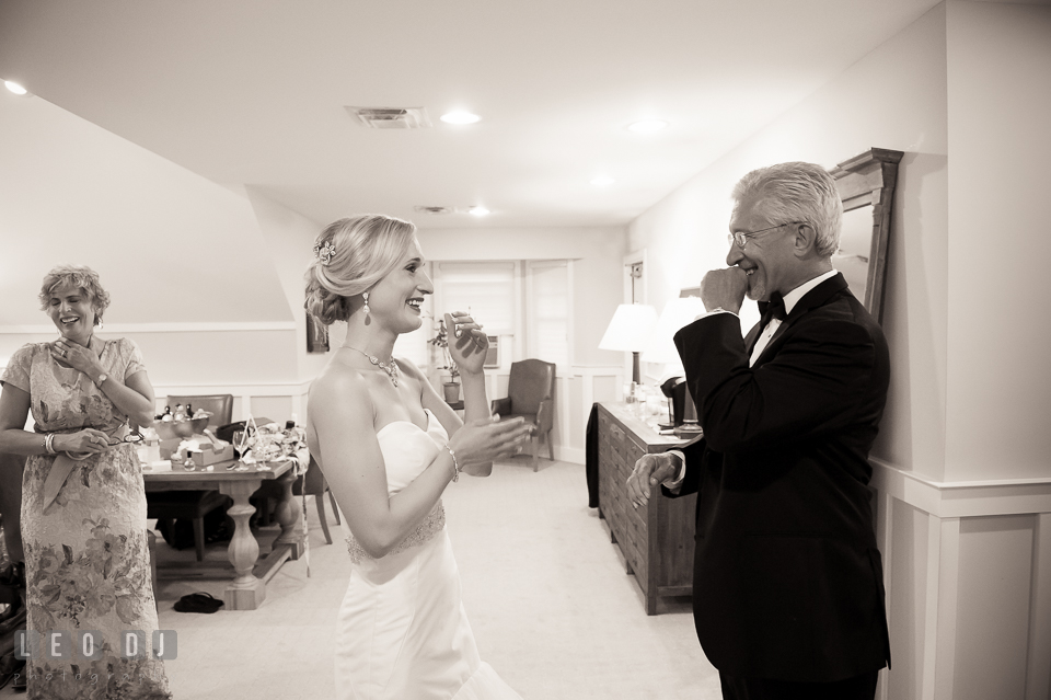 Bride, Father and Mother laughing during first look. Kent Island Maryland Chesapeake Bay Beach Club wedding photo, by wedding photographers of Leo Dj Photography. http://leodjphoto.com