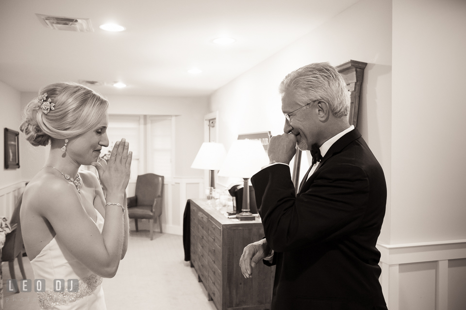 Father of the Bride and daughter about to cry during first look. Kent Island Maryland Chesapeake Bay Beach Club wedding photo, by wedding photographers of Leo Dj Photography. http://leodjphoto.com