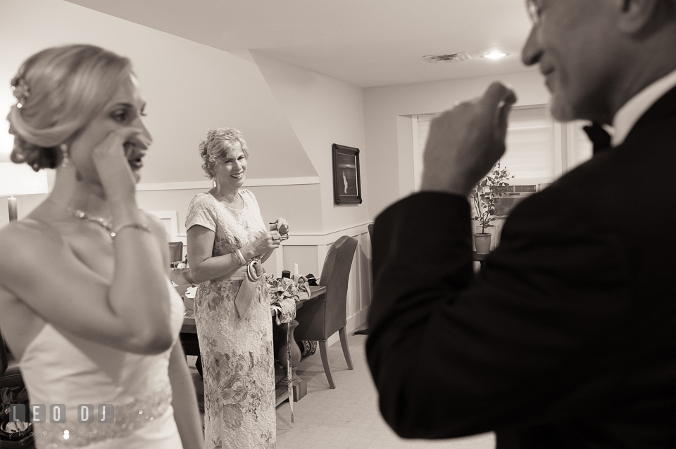 Mother smiling seeing Father of Bride and daughter wiping of tears. Kent Island Maryland Chesapeake Bay Beach Club wedding photo, by wedding photographers of Leo Dj Photography. http://leodjphoto.com