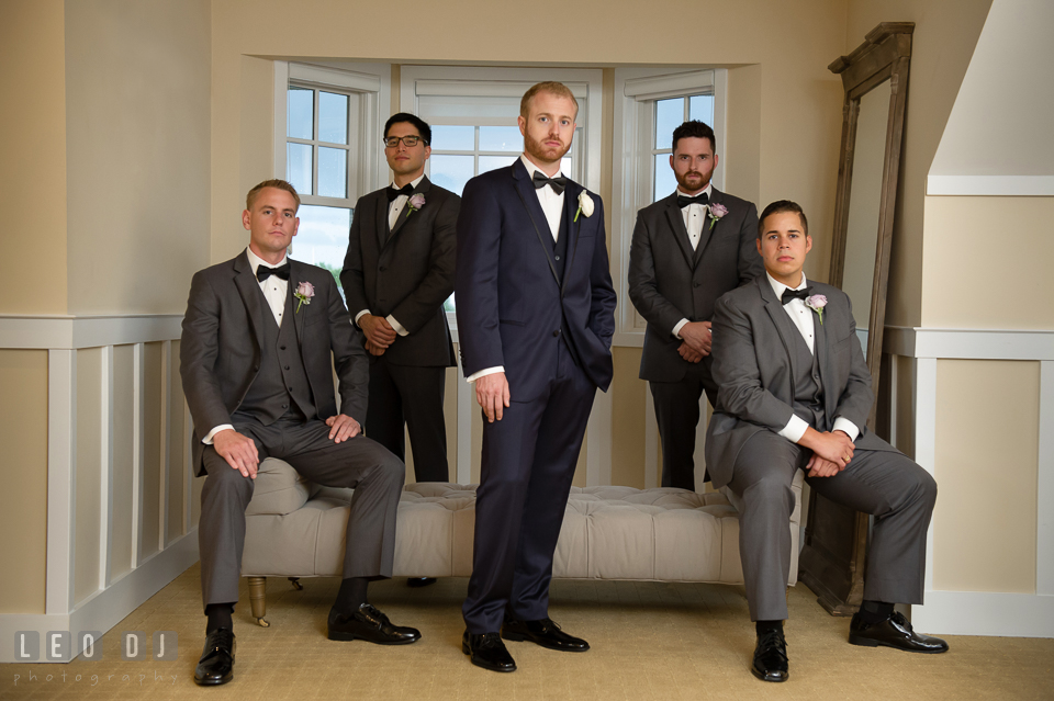 Groom posing with his Best Man and groomsmen. Kent Island Maryland Chesapeake Bay Beach Club wedding photo, by wedding photographers of Leo Dj Photography. http://leodjphoto.com
