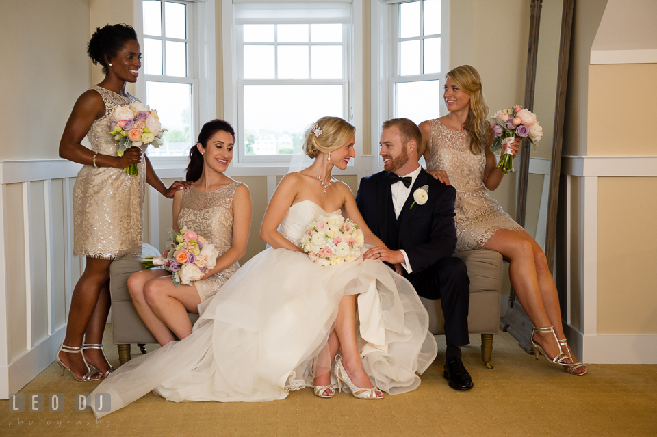 Bride and Groom with the Maid of Honor and Bridesmaids. Kent Island Maryland Chesapeake Bay Beach Club wedding photo, by wedding photographers of Leo Dj Photography. http://leodjphoto.com