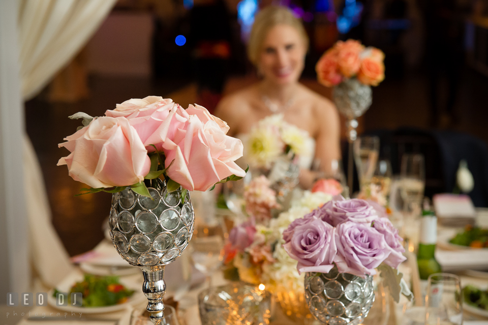 Pink and violet roses table centerpieces. Kent Island Maryland Chesapeake Bay Beach Club wedding photo, by wedding photographers of Leo Dj Photography. http://leodjphoto.com