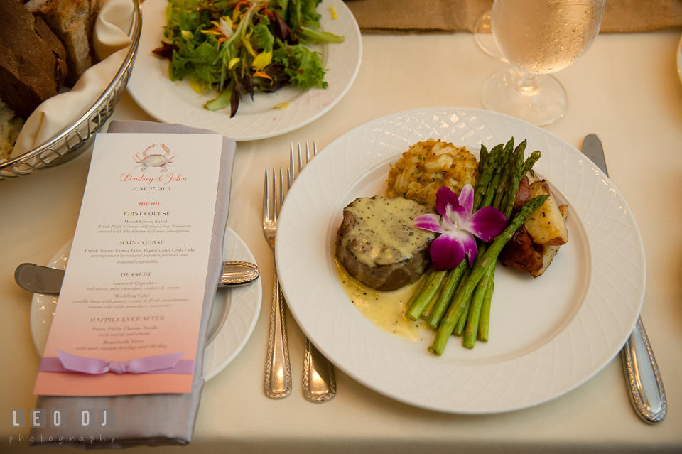 Main course of steak and crab cake with the menu card. Kent Island Maryland Chesapeake Bay Beach Club wedding photo, by wedding photographers of Leo Dj Photography. http://leodjphoto.com