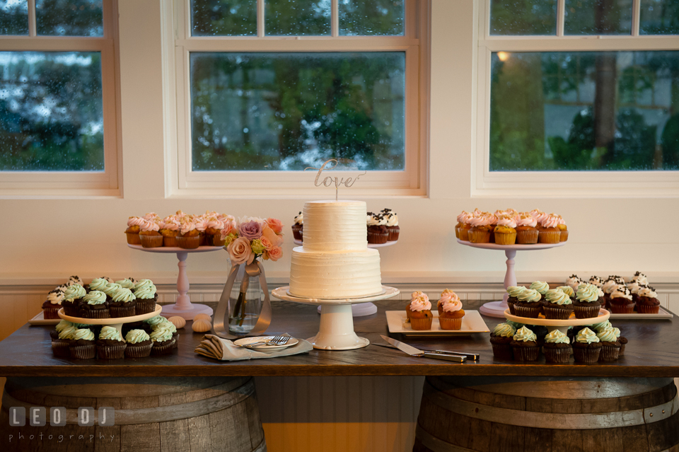 Wedding cake and cupcakes from Cakes by Rachael. Kent Island Maryland Chesapeake Bay Beach Club wedding photo, by wedding photographers of Leo Dj Photography. http://leodjphoto.com