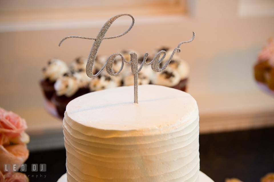 Love cake topper. Kent Island Maryland Chesapeake Bay Beach Club wedding photo, by wedding photographers of Leo Dj Photography. http://leodjphoto.com