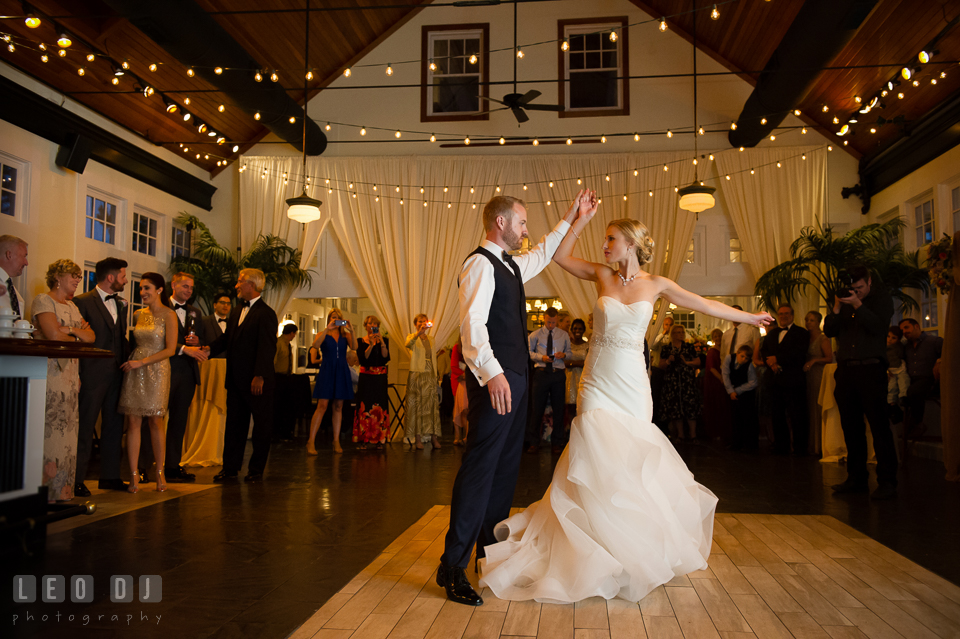 Bride and Groom performing their first dance. Kent Island Maryland Chesapeake Bay Beach Club wedding photo, by wedding photographers of Leo Dj Photography. http://leodjphoto.com