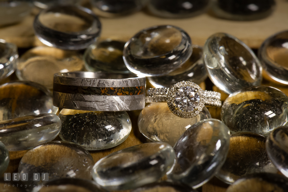 Bride's engagement and wedding rings, with Groom's wedding band. Kent Island Maryland Chesapeake Bay Beach Club wedding photo, by wedding photographers of Leo Dj Photography. http://leodjphoto.com
