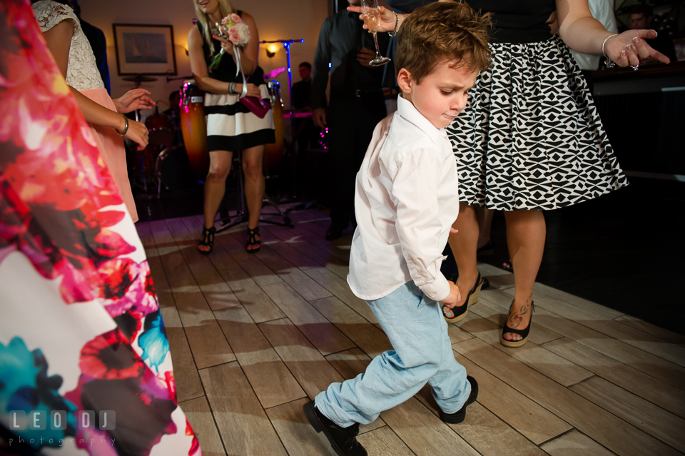 Little boy dancing to the music by Onyx Band. Kent Island Maryland Chesapeake Bay Beach Club wedding photo, by wedding photographers of Leo Dj Photography. http://leodjphoto.com
