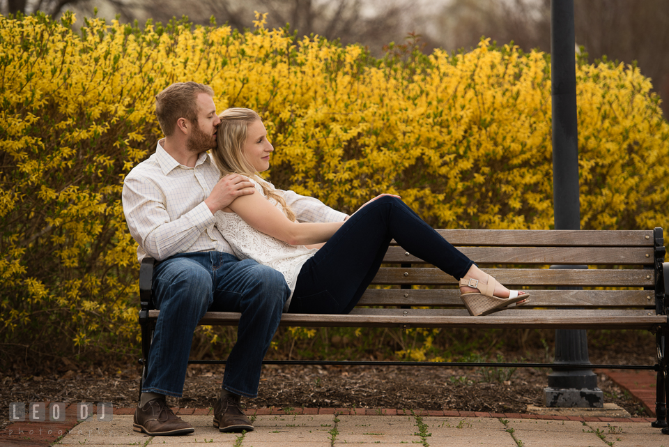Engaged girl snuggling with her fiance on the bench by the forsythia trees. Quiet Waters Park Annapolis Maryland pre-wedding engagement photo session, by wedding photographers of Leo Dj Photography. http://leodjphoto.com