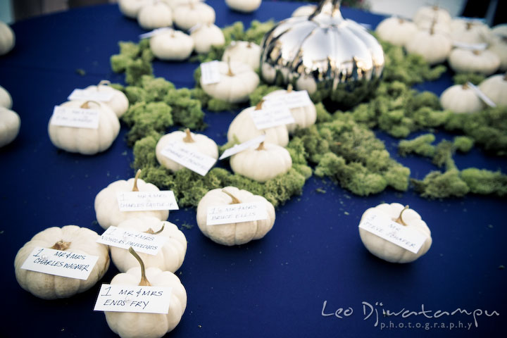 White pumpkin decoration for table assignment. Annapolis Kent Island Maryland Wedding Photography with live dance band at reception