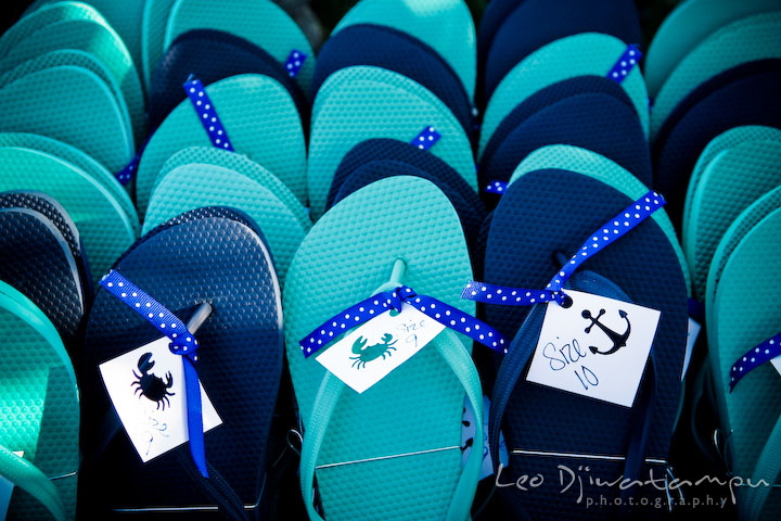 Nautical themed flip-flop sandal for wedding favors. Annapolis Kent Island Maryland Wedding Photography with live dance band at reception