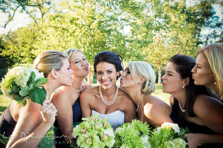 Maid of honor and bridesmaids showing their love to the bride. Annapolis Kent Island Maryland Wedding Photography with live dance band at reception