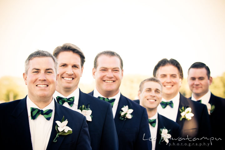 Groom, best man, and groomsmen smiling. Annapolis Kent Island Maryland Wedding Photography with live dance band at reception