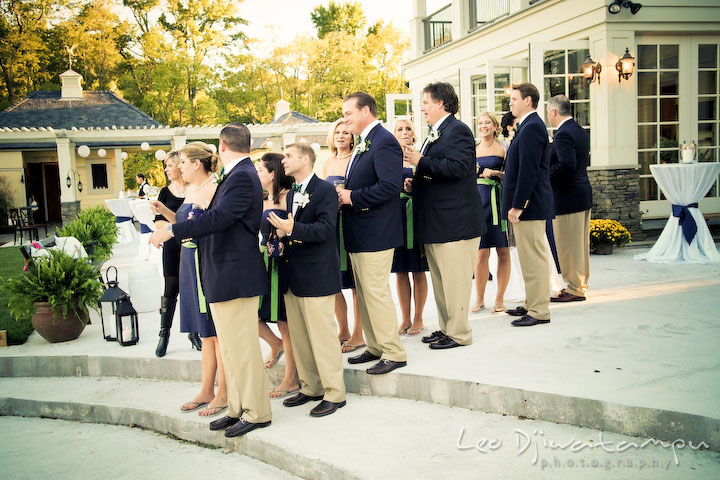 The whole bridal and groom party waiting to be introduced by the MC. Annapolis Kent Island Maryland Wedding Photography with live dance band at reception