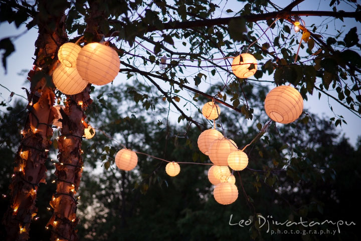 Round lanterns for decorations. Annapolis Kent Island Maryland Wedding Photography with live dance band at reception