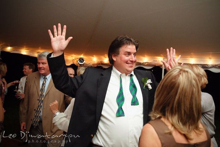 Groom's brother dancing and having fun. Annapolis Kent Island Maryland Wedding Photography with live dance band at reception