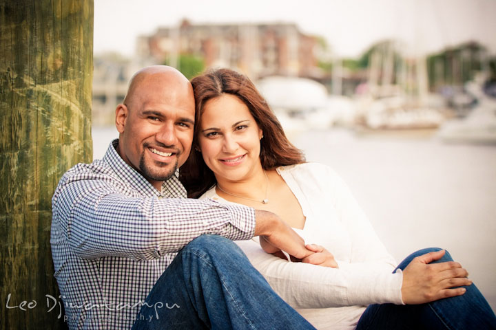 Posed portrait of guy and his fiancée. Annapolis Maryland USNA Pre-Wedding Engagement Photo Session by wedding photographer Leo Dj Photography