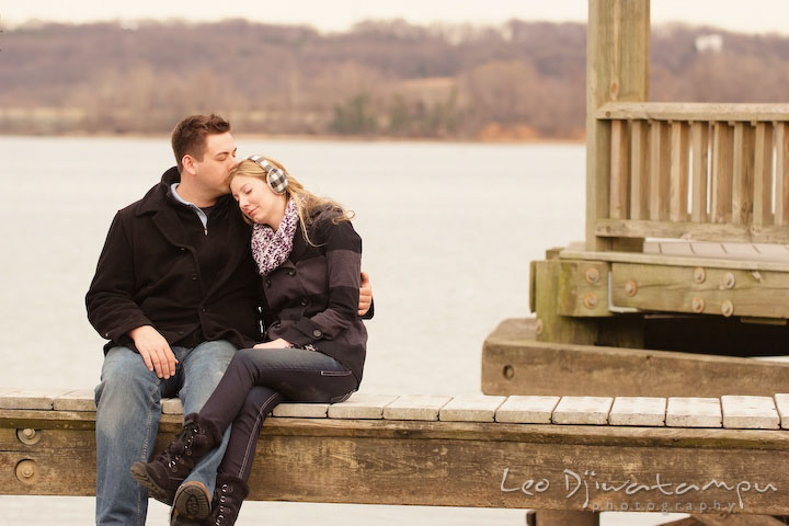 Engaged guy kissed his fiancée. Old Town Alexandria Virgina Pre-wedding Engagement Photo Session Photographer, Leo Dj Photography