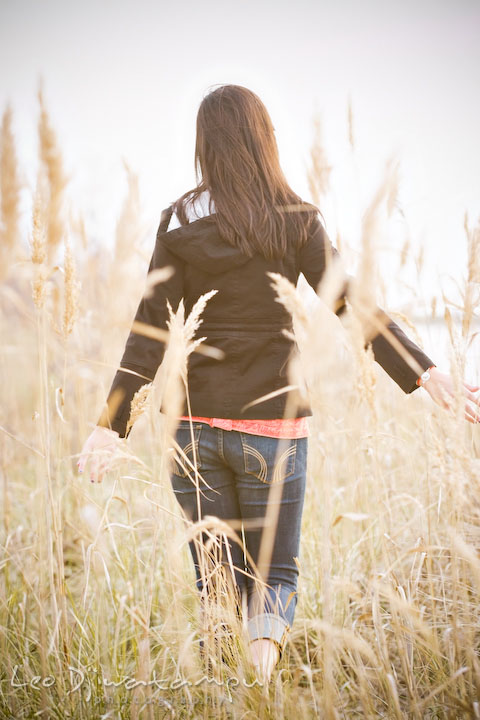 girl walking away in meadow, tall grass, straw. Kent Island Annapolis High School Senior Portrait