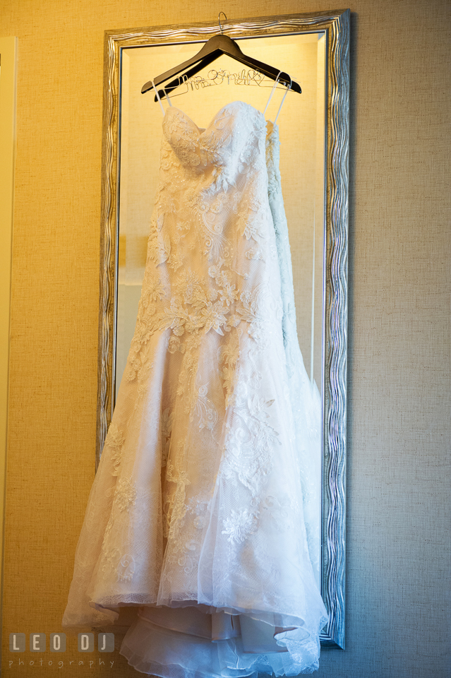 Beautiful lace wedding gown from Dryden Dress. Hyatt Regency Chesapeake Bay wedding at Cambridge Maryland, by wedding photographers of Leo Dj Photography. http://leodjphoto.com