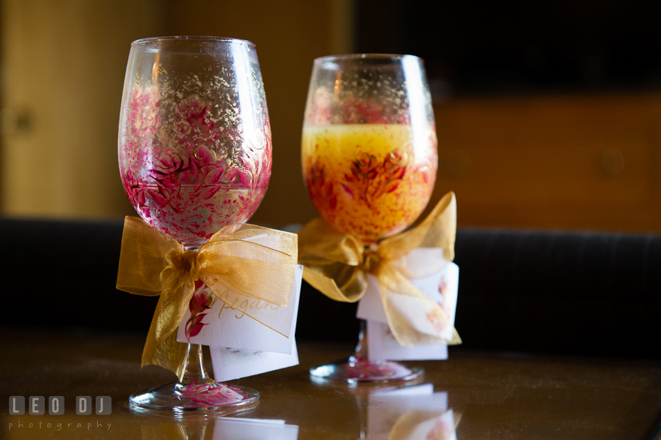 Custom wine glasses with Bride and Bridesmaids' names. Hyatt Regency Chesapeake Bay wedding at Cambridge Maryland, by wedding photographers of Leo Dj Photography. http://leodjphoto.com