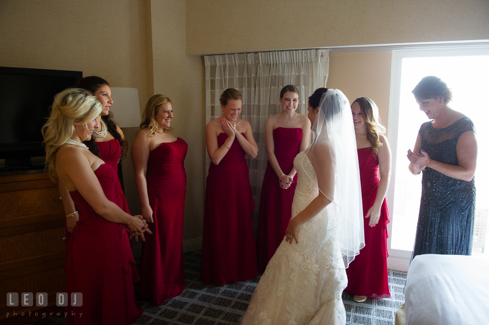 Bridesmaids, Maid of Honor, and Mother excited to see Bride in her wedding gown. Hyatt Regency Chesapeake Bay wedding at Cambridge Maryland, by wedding photographers of Leo Dj Photography. http://leodjphoto.com