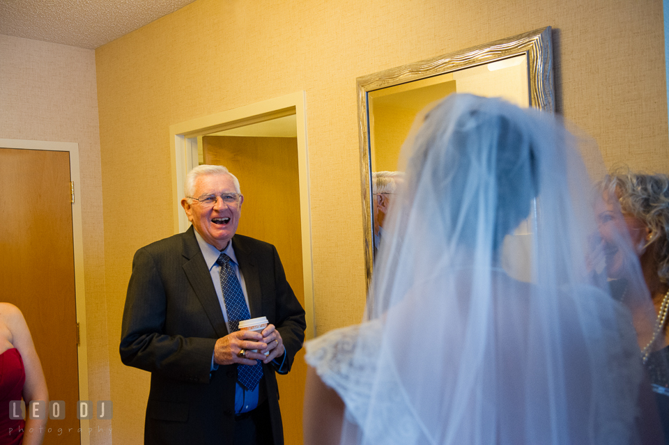 Grandfather of the Bride happy to see Bride in wedding dress. Hyatt Regency Chesapeake Bay wedding at Cambridge Maryland, by wedding photographers of Leo Dj Photography. http://leodjphoto.com