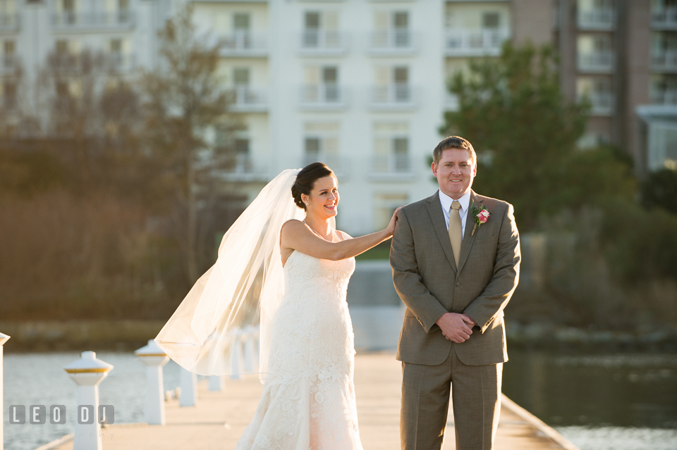 Bride and Groom's first look. Hyatt Regency Chesapeake Bay wedding at Cambridge Maryland, by wedding photographers of Leo Dj Photography. http://leodjphoto.com