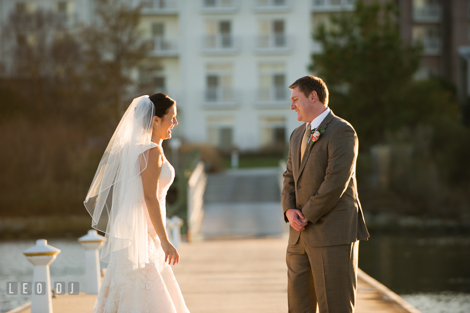 Proud Groom looking at his Bride during first look. Hyatt Regency Chesapeake Bay wedding at Cambridge Maryland, by wedding photographers of Leo Dj Photography. http://leodjphoto.com
