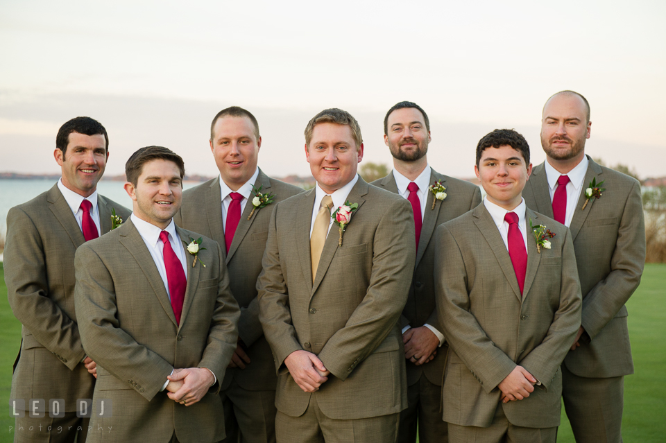 Groom posing with Best Man and Groomsmen. Hyatt Regency Chesapeake Bay wedding at Cambridge Maryland, by wedding photographers of Leo Dj Photography. http://leodjphoto.com