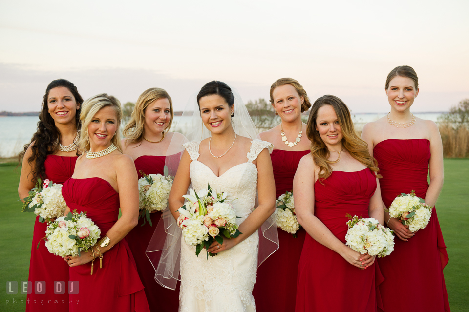 Bride posing with Maid of Honor and Bridesmaids. Hyatt Regency Chesapeake Bay wedding at Cambridge Maryland, by wedding photographers of Leo Dj Photography. http://leodjphoto.com