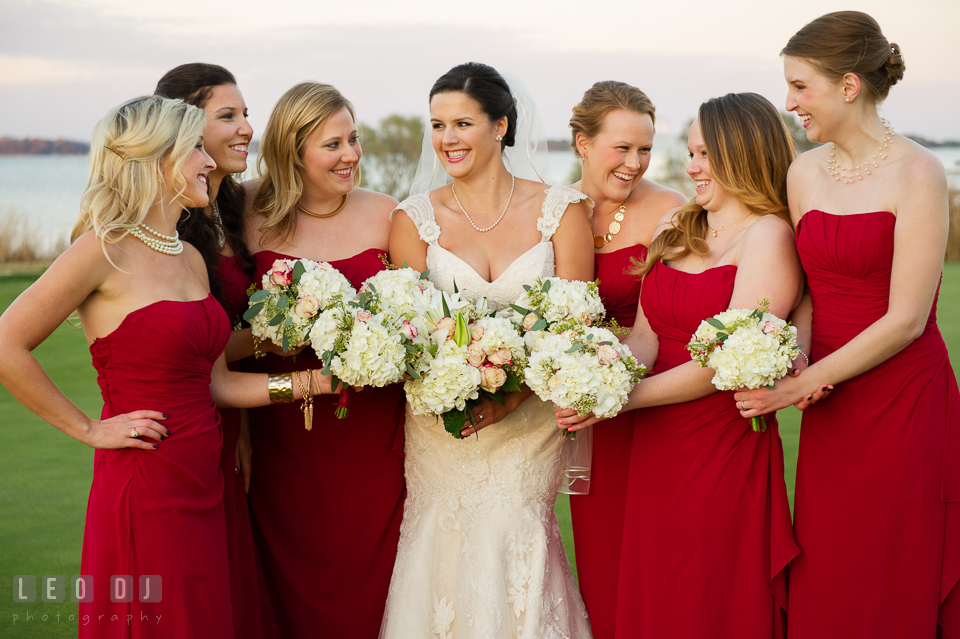 The Bride, Maid of Honor and Bridesmaids showing their flower bouquets. Hyatt Regency Chesapeake Bay wedding at Cambridge Maryland, by wedding photographers of Leo Dj Photography. http://leodjphoto.com