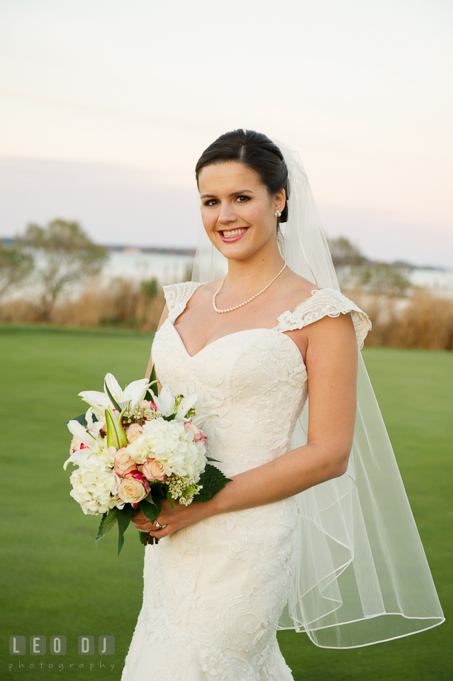 Lovely Bride smiling. Hyatt Regency Chesapeake Bay wedding at Cambridge Maryland, by wedding photographers of Leo Dj Photography. http://leodjphoto.com