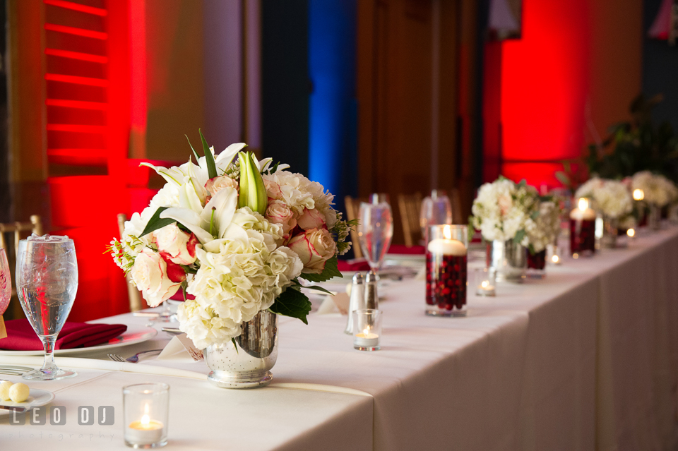 Beautiful decors and table centerpieces. Hyatt Regency Chesapeake Bay wedding at Cambridge Maryland, by wedding photographers of Leo Dj Photography. http://leodjphoto.com