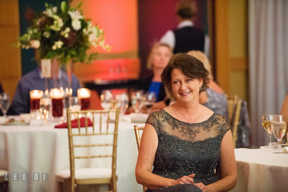 Mother of the Bride smiling seeing Father daughter dance. Hyatt Regency Chesapeake Bay wedding at Cambridge Maryland, by wedding photographers of Leo Dj Photography. http://leodjphoto.com