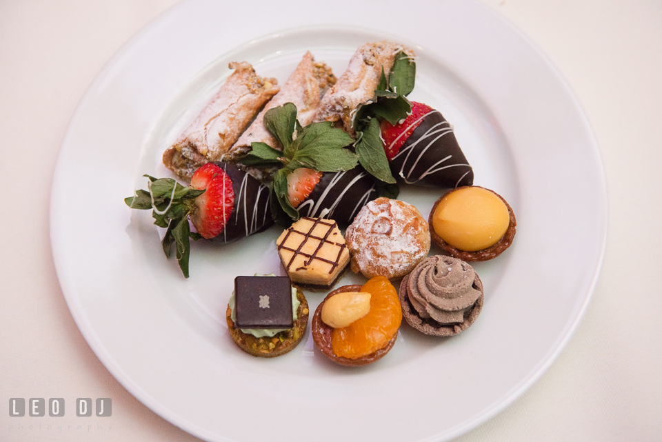 Delicious dessert pastries served during wedding reception. Hyatt Regency Chesapeake Bay wedding at Cambridge Maryland, by wedding photographers of Leo Dj Photography. http://leodjphoto.com