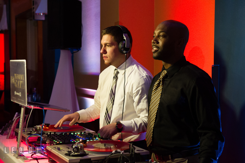 DJ Tommy Gatz in action during wedding reception. Hyatt Regency Chesapeake Bay wedding at Cambridge Maryland, by wedding photographers of Leo Dj Photography. http://leodjphoto.com
