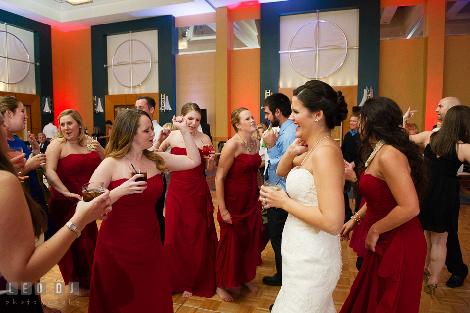 Bride dances with Bridesmaids and Maid of Honor. Hyatt Regency Chesapeake Bay wedding at Cambridge Maryland, by wedding photographers of Leo Dj Photography. http://leodjphoto.com