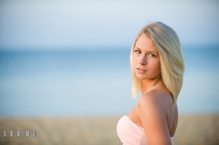 Head shot of beautiful blonde girl. Kent Island and Annapolis, Eastern Shore, Maryland model portrait photo session at Sandy Point Beach by photographer Leo Dj Photography. http://leodjphoto.com