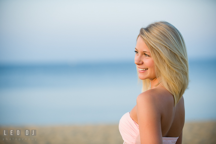Gorgeous girl with blonde hair smiling. Kent Island and Annapolis, Eastern Shore, Maryland model portrait photo session at Sandy Point Beach by photographer Leo Dj Photography. http://leodjphoto.com