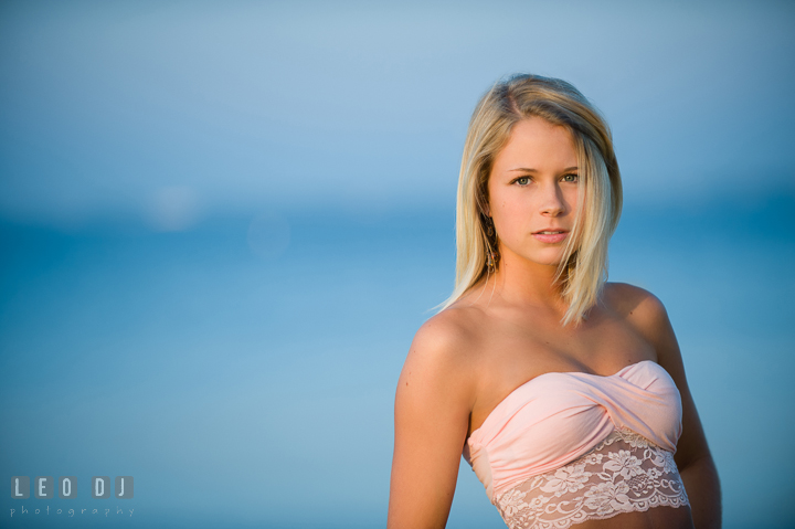 Beautiful blonde girl with short top. Kent Island and Annapolis, Eastern Shore, Maryland model portrait photo session at Sandy Point Beach by photographer Leo Dj Photography. http://leodjphoto.com